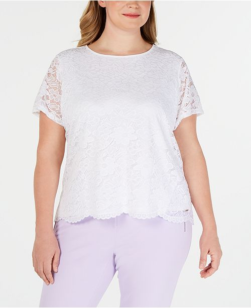Calvin Klein Plus Size Short-Sleeve Lace Top