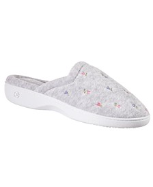 Isotoner Women's Embroidered Floral Terry Clog Slippers with Memory Foam