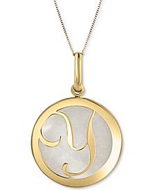 """Mother of Pearl (16-3/4mm) Initial 18"""" Pendant Necklace in 10k Gold"""