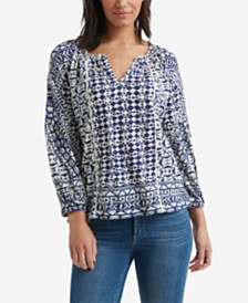Lucky Brand Printed Keyhole Top
