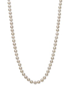 "Cultured Akoya Pearl (6-6-1/2mm) 16"" Strand Necklace in 14k Gold, Created for Macy's"