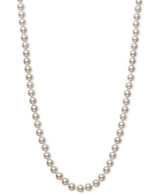 "Belle de Mer Cultured Akoya Pearl (6-6-1/2mm) 16"" Strand Necklace in 14k Gold, Created for Macy's"