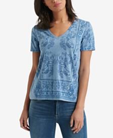 79300dc5e3b0 Lucky Brand Printed V-Neck T-Shirt