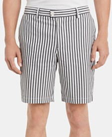 "Calvin Klein Men's Classic-Fit Performance Stretch Yarn-Dyed Stripe 9"" Shorts"