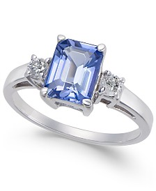 Tanzanite (1-3/4 ct. t.w.) & Diamond (1/4 ct. t.w.) Statement Ring in 14k White Gold
