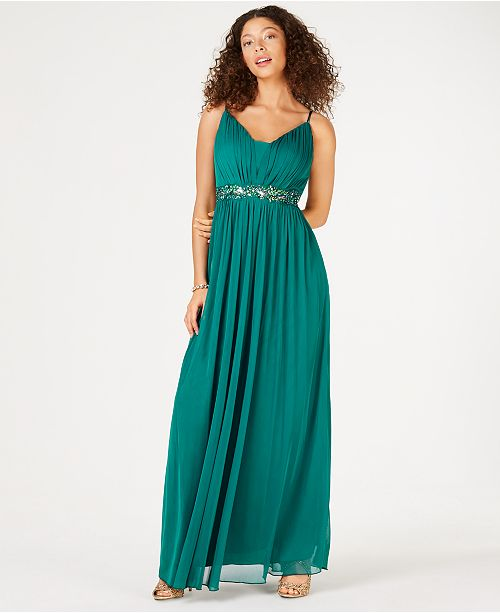 Teeze Me Juniors' Beaded Grecian Gown, Created for Macy's