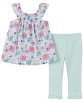 88124f0429 Calvin Klein Baby Girls 2-Pc. Floral-Print Tunic   Leggings Set