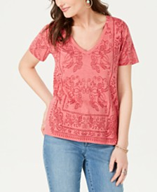Lucky Brand Printed V-Neck T-Shirt