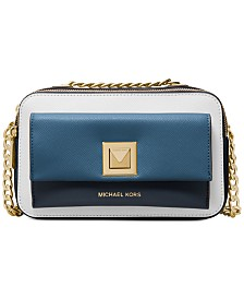 MICHAEL Michael Kors Sylvia Tricolor Crossgrain Leather Double Zip Crossbody