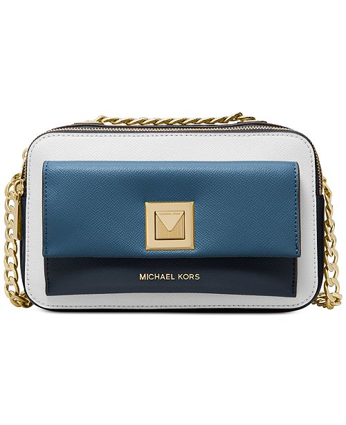 Michael Kors Sylvia Tricolor Crossgrain Leather Double Zip Crossbody