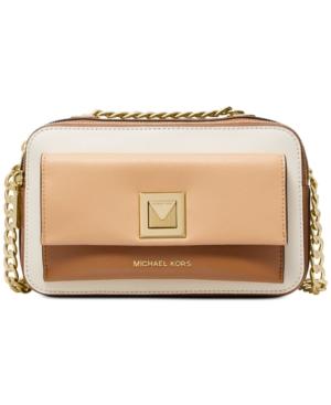 28d28606c7d6 Michael Michael Kors Sylvia Tricolor Crossgrain Leather Double Zip  Crossbody - Butternut Cream Gold