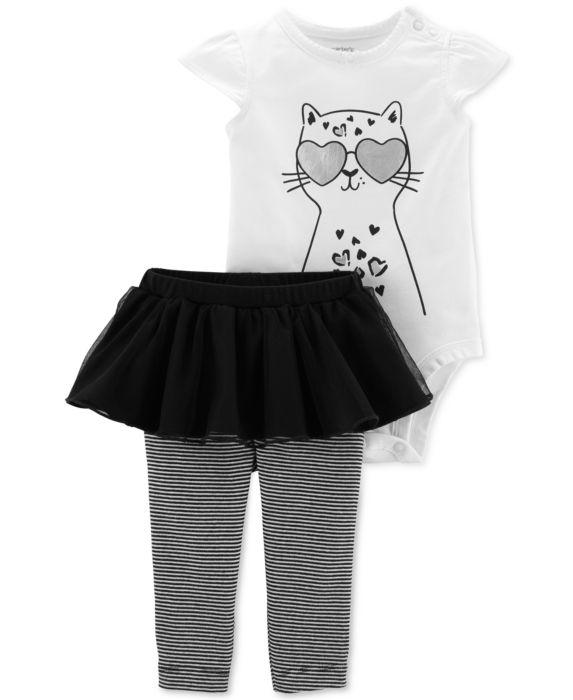 Carters Baby Girls 2-Pc. Cheetah-Print Bodysuit & Tutu Leggings Set , White, Size: 6 months