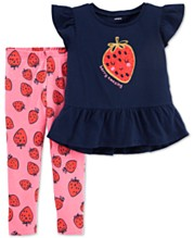 f9356c9d7 Carter's Baby Girls 2-Pc. Strawberry Peplum Top & Printed Leggings Set