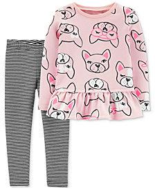 Carter's Baby Girls 2-Pc. Dog-Print Tunic & Striped Leggings Set