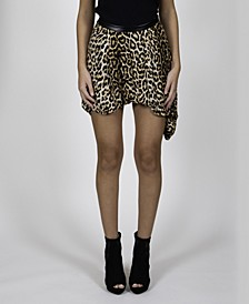 Leopard Printed Soft Skirt with Faux Leather Waist Band