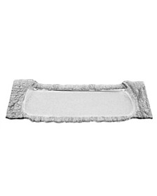 Classic Touch Large Rectangular Glass Tray With Silver Embossed Border