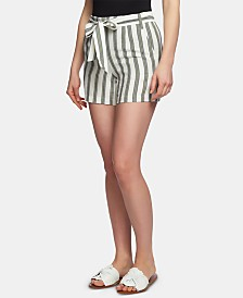 1.STATE Regancy Striped Flat-Front Tie-Waist Shorts