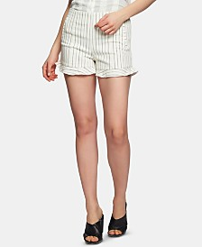 1.STATE Flat-Front Ruffle-Hem Striped Shorts