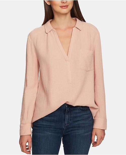 1.STATE Cotton Split-Neck Shirt