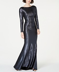 Betsy & Adam Petite Metallic Gown