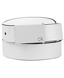Calvin Klein Men's Textured Leather Plaque Belt