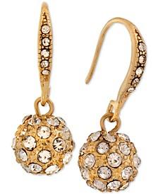 Gold-Tone Pavé Fireball Drop Earrings
