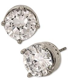 Silver-Tone Cubic Zirconia Stud Earrings