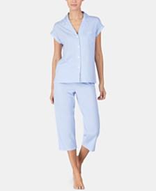 Lauren Ralph Lauren Stripe-Print Short-Sleeve Top and Capri Pajama Pants Set
