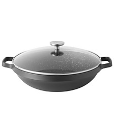 "Gem Cast Alum 12.5"" Non-Stick Covered Wok"