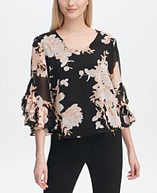 Calvin Klein Floral-Print Ruffle-Sleeve Blouse