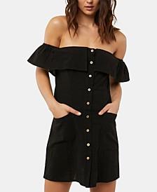 Juniors' Esmeralda Cotton Off-The-Shoulder Dress