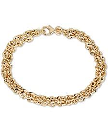Double Row Link Bracelet in 14k Gold