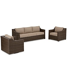 Camden Outdoor Aluminum 3-Pc. Seating Set (1 Sofa, 1 Chair & 1 Swivel Chair), Created for Macy's