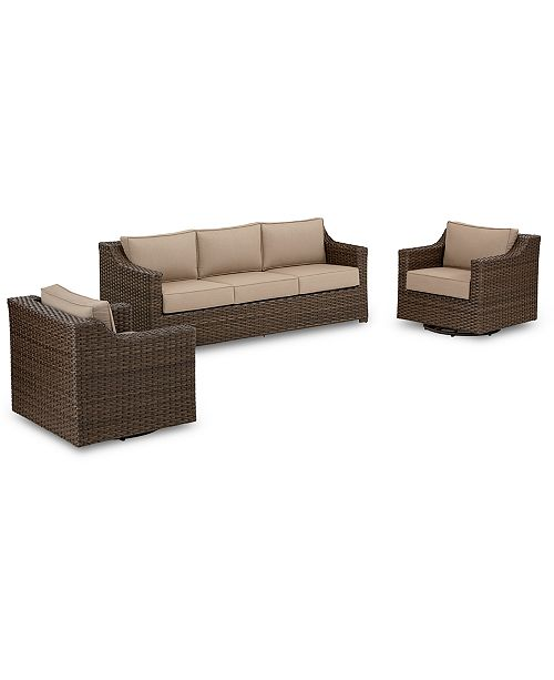 Furniture Camden Outdoor Wicker 3-Pc. Seating Set (1 Sofa & 2 Swivel Chairs), Created for Macy's