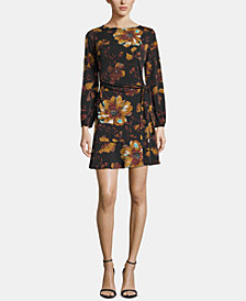 ECI Boat-Neck Printed Faux-Wrap Dress