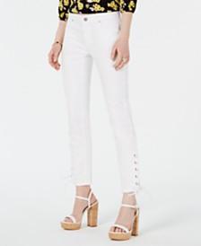 MICHAEL Michael Kors Grommet Laced-Hem Skinny Jeans, Regular & Petite