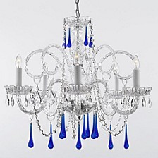 Empress 5-Light Crystal Chandelier with Blue Crystal