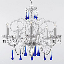 Empress 5-Light Crystal Chandelier with Blue Crystal