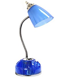 Limelight's Flossy Organizer Desk Lamp with Charging Outlet Lazy Susan Base