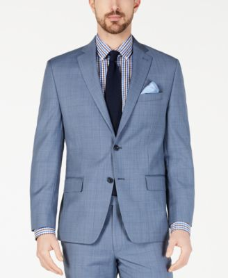 Men's Classic-Fit Airsoft Stretch Light Blue Windowpane Suit Jacket