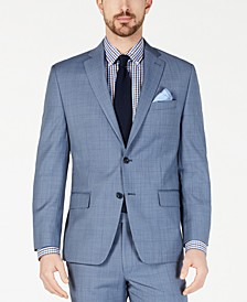 Men's Classic-Fit Airsoft Stretch Light Blue Windowpane Wool Suit Jacket