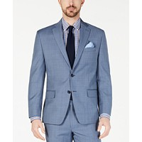 Michael Kors Men's Classic-Fit Airsoft Stretch Light Blue Windowpane Suit Jacket