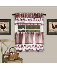 Barnyard Curtain Tier and Valance Set, 58x24