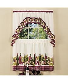 Chardonnay Printed Tier and Swag Window Curtain Set, 57x24