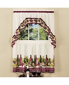 Chardonnay Printed Tier and Swag Window Curtain Set, 57x24