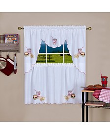 Fast Food Embellished Tier and Swag Window Curtain Set, 56x36