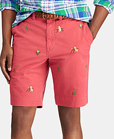 "Polo Ralph Lauren Men's 9.25"" Stretch Classic-Fit Embroidered Shorts"