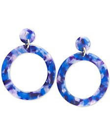 Zenzii Gold-Tone Resin Tortoise Shell-Look Drop Hoop Earrings