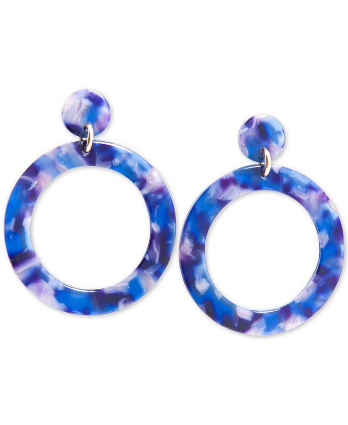 Zenzii - Gold-Tone Resin Tortoise Shell-Look Drop Hoop Earrings