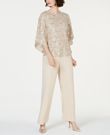 Jessica Howard Sequined Lace Top & Pants